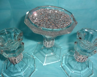 Chunky silver glitter, Bling, Candle holders,Unity set.