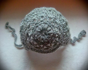 Newborn Lux wool hat heather gray crochet handmade knit baby bonnet