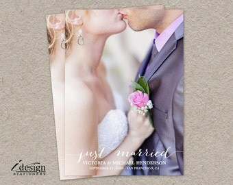Just Married Wedding Announcement Photo Cards | DIY Printable Marriage / Elopement Announcement Photo Card