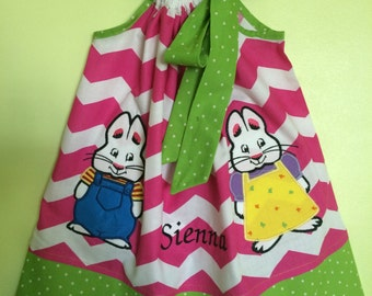 Custom Made Pillowcase Dress- Pink Chevron with Max and Ruby Machine Embroidered Applique & Lime Bebe Dot Hem and Ribbon- NB-8y/o