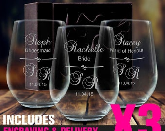 3 x Engraved Stemless Wine Glasses 500ml Bridesmaid Wedding Gift Personalised - With Gift Box Option - Free Shipping Aus Wide