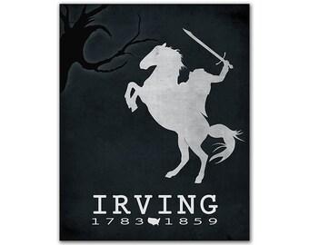 Washington Irving The Legend of Sleepy Hollow - Halloween Headless Horseman Creepy Tree Book Lover Gift Idea Bookish Decor American Author