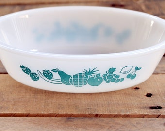 Vintage Glasbake Aqua Fruit Casserole Dish