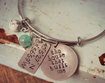 """Personalized Silver Bangle, Longitude and Latitude Hand Stamped Bracelet, Coordinates Bracelet, """"The House that Built Me"""""""