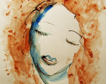 Face Painting, Original Ink and acrylic Drawing, Womans Face, Female Portrait