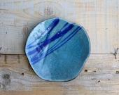 ceramic plate, raku pottery turquoise, empty pocket, sea color