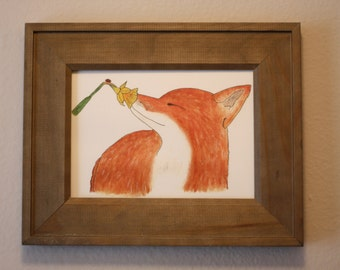 Fox and Flower Print in Wooden Frame