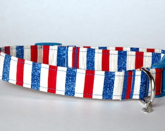 "Handmade Patriotic Striped Dog Collar ""New"""