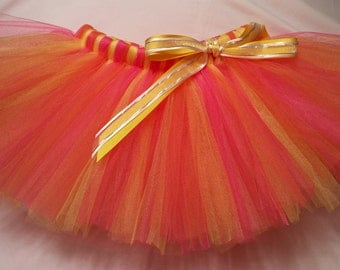 Hot Pink Orange and Yellow Tutu, baby tutu, infant tutu, toddler tutu, newborn tutu, 1st birthday tutu, birthday tutu, girls tutu, tutu
