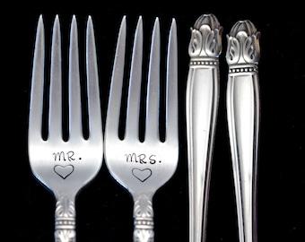 Stamped Wedding Forks, Mr Mrs Fork, Engagement Wedding Gift, Danish Princess, Vintage Stamped Dinner Fork with Heart