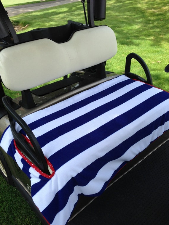 Navy And White Stripe Golf Cart Seat Cover