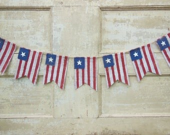 American Flag Banner, Patriotic Banner, Patriotic Bunting, 4th of July Banner Garland, Patriotic Decor, Burlap, Burlap Bunting Garland
