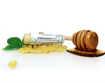 MANUKA MINT LIP Balm with Manuka Honey + Peppermint Oil + Shea Butter + Beeswax + Cocoa Butter - All-Natural Lip Balm