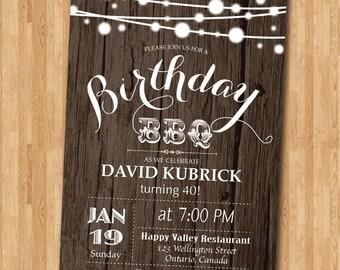 40th Birthday BBQ Invitation. Wood Rustic. BBQ Party Invitation. Surprise Birthday. Backyard string lights. Printable Digital