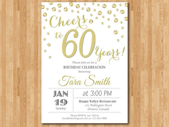 60th birthday invitation gold glitter cheers to 60 years like this item stopboris Choice Image