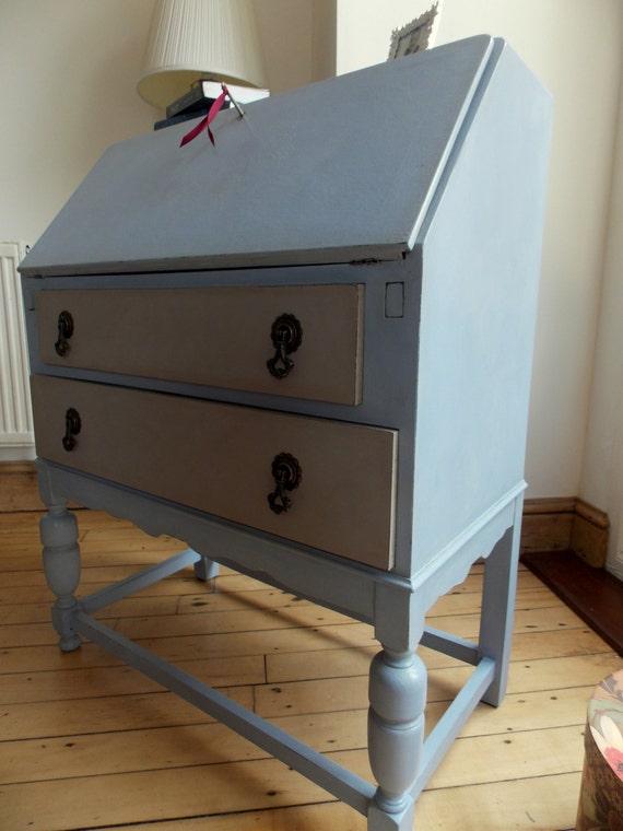 vintage oak 2 drawer bureau writing desk turned legs ornate. Black Bedroom Furniture Sets. Home Design Ideas