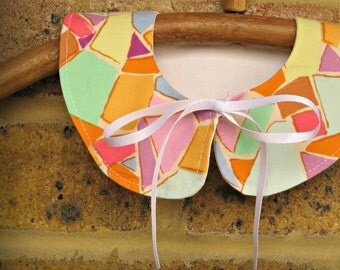 Double-sided, detachable Peter Pan collar, pastel patterned