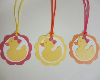 Rubber Duck Gift Favor Tags Birthday Party Shower Set of 12 Pink Orange Yellow