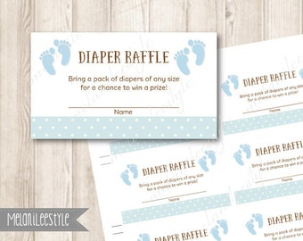 Printable Baby Diaper Raffle Tickets, Baby Feet, Baby Blue, Baby Shower Printables, INSTANT DOWNLOAD