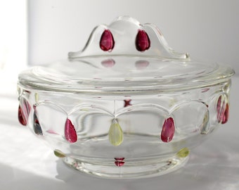 Indiana Glass Company Teardrop Candy Dish or Bowl with Lid, Hand Painted Raised Teardrop Design in Ruby Red and Yellow, Clear Crystal Glass