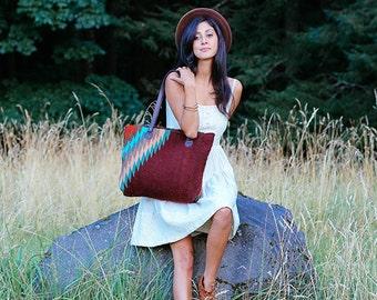 HUGE SALE!! Tote bag/Boho chic/Statement bag/Handwoven/ Wool/ Brown leather/Tribal/Native design/Burgundy/Brown/Blue/Golden orange