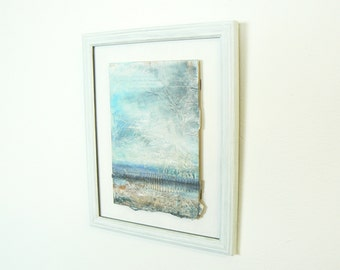 Framed painting mounted on board of English seascape
