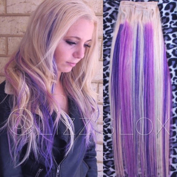 20 clip in extensions purple lilac blonde highlights like this item pmusecretfo Choice Image