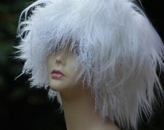 Womens hats trendy. llama fur hat White Kubanka winter Hat Boho Hippie Hat Winter'fashion Winter's White Hats bohemian clothing For Womens