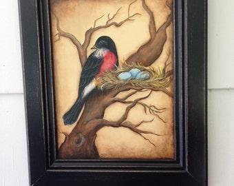Robin Painting on Cabinet Door