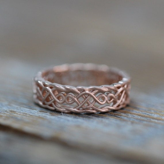 57feca8be Items similar to Celtic Wedding Band 14k Rose Gold Infinity Knot Wedding  Ring for Him or Her
