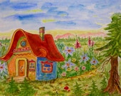 "Original watercolor painting ""House of a Fairy"" 9.3"" x 12.5"" Landscape Art Wall Decor"