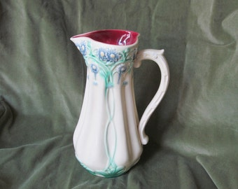 French Art Nouveau Barbotine Sarreguemines Digoin/Majolica Jug with Sinuous Flower Motif