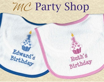 Personalized First 1st Birthday Bib, Custom Baby Girl or Boy 1st Birthday Bib, 1st birthday cupcake bib