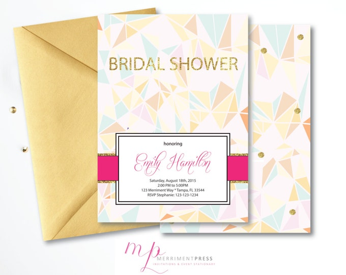 Geometric Bridal Shower Invitation Gold Glitter Prism  Modern Pastels Gold Glitter DIY Printable or Printed - Geometry Collection