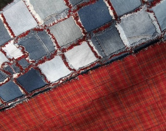 jeans, denim quilt with faux chenille seams and a red plaid backing