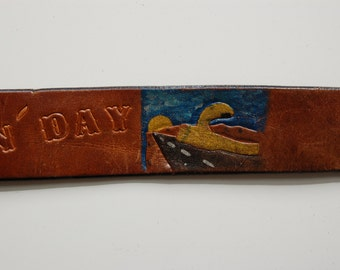"""Vintage """"Have A Nice Truckin Day"""" Leather Belt circa the 70's"""