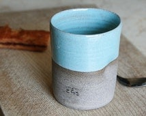Ceramic Cup - pottery ceramic cup - turquoise ceramic cup - stoneware ceramic cup - curved coffee mug  - no handle coffee mug