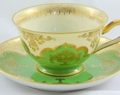 Vintage Small Tirschenreuth Bavaria Demi Tasse Tea Cup and Saucer Green