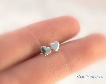 Tiny stud earrings, Tiny Heart studs, Heart earrings, Under 20 dollars - gift for her- SOLID 925 STERLING SILVER, Heart studs, Tiny studs