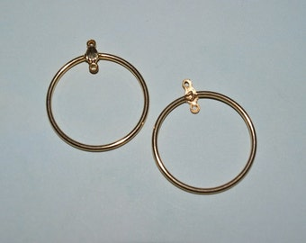 10 pcs of Gold plated Round hoop 28 mm (3011520)