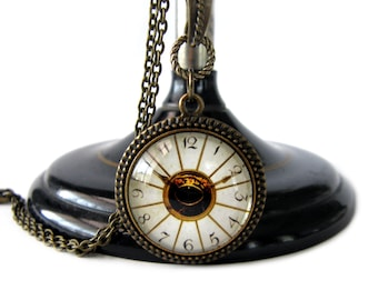 Faux Vintage Clock with an Eye in the Center, Victorian Style Necklace, Bronze Necklace, Imitation Clock Necklace, Clock Jewelry, Steampunk