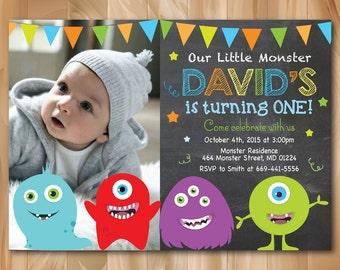 Monster birthday invitation. Little Monster Birthday Party Invite. First 1st Birthday any age. Chalkboard. Custom Photo. Printable Digial