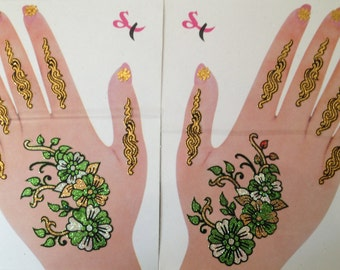 Temporary Hand Arm Henna Tattoos Multicolor Green Gold