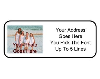 30 Custom Personalized YOUR FAMILY PHOTO Graphic Return Address Mailing Labels