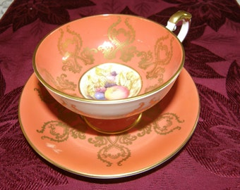 Aynsley 2832 Pedestal Fruit Orchard Tea Cup and Saucer Duo