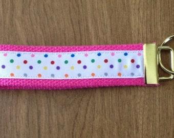 Polka Dot key chain zipper pull wristlet key fob
