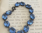 Blue Open Black Glass Crystal Bracelet