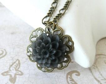 Black Flower Pendant, Black Mum Necklace, Floral Jewelry, Goth Necklace, Romantic Black Flower Necklace