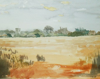 Early Morning at Ludham Norfolk an Original Watercolour  Painting, across the fields.