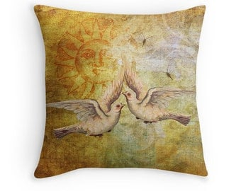 Gift for Newlyweds, Dove Throw Pillow, Dove Cushion, Boho Decor,  Love Birds, Sun Throw Pillow,Boho Chic Cushion,Yellow Decor,Bohemian Decor